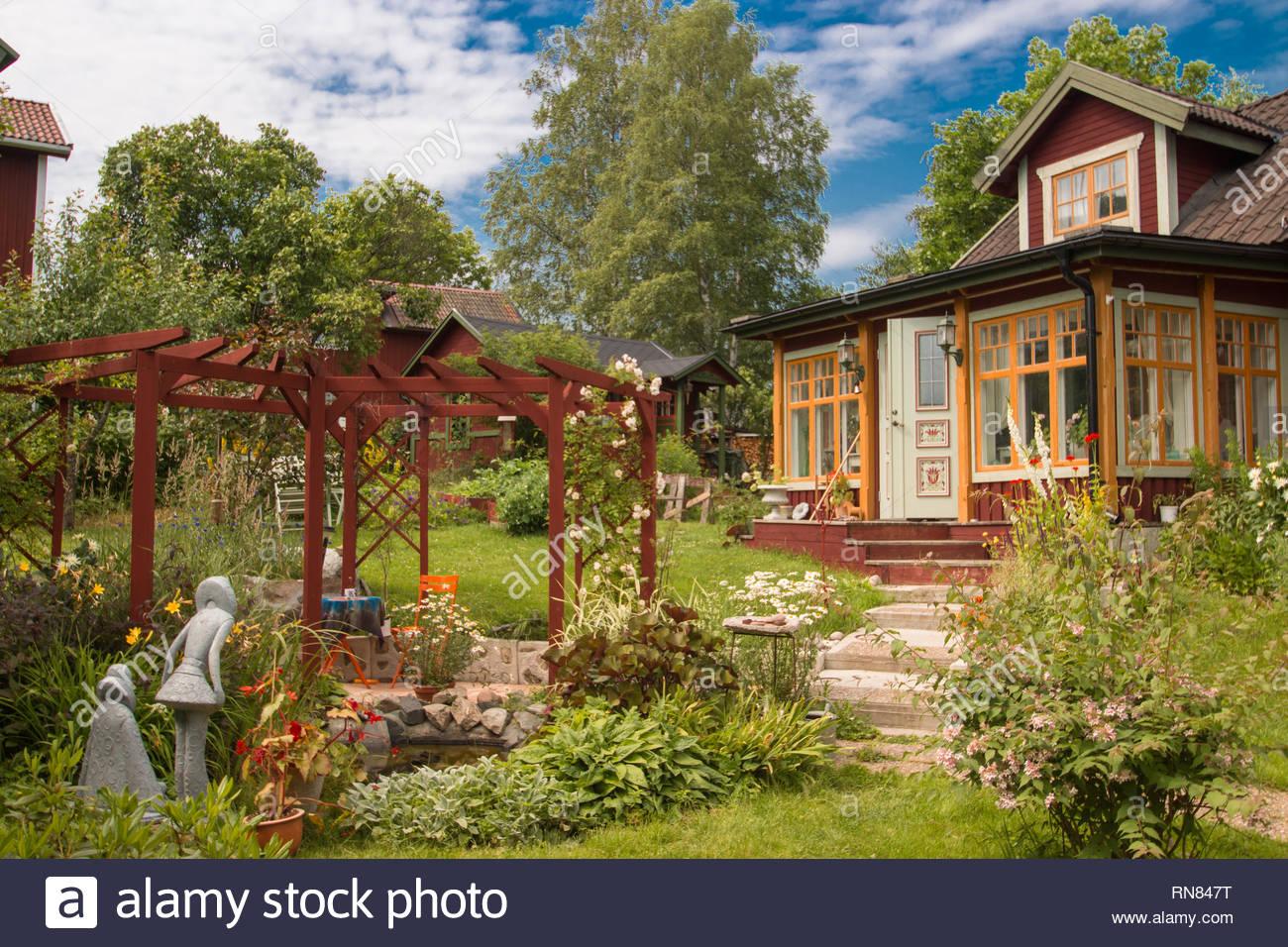 Sundborn/Dalarna/Sweden ,July04,2014- beautiful swedish house with a garden Stock Photo