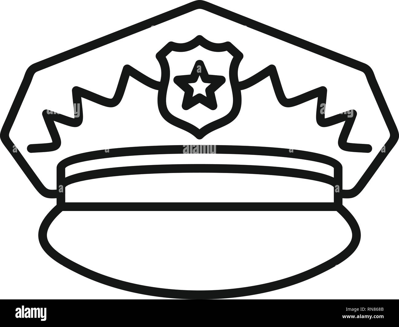 Police cap icon. Outline police cap vector icon for web design isolated on white background - Stock Image
