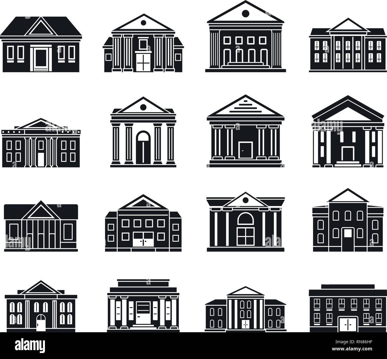 Courthouse building icons set. Simple set of courthouse building vector icons for web design on white background - Stock Image