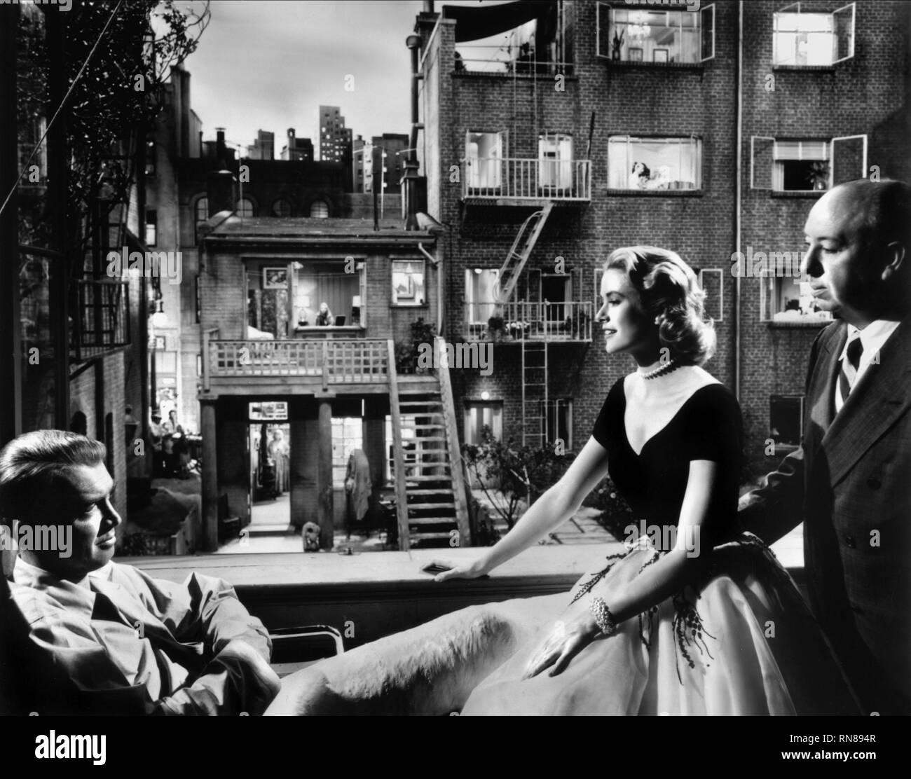 STEWART,KELLY,HITCHCOCK, REAR WINDOW, 1954 - Stock Image