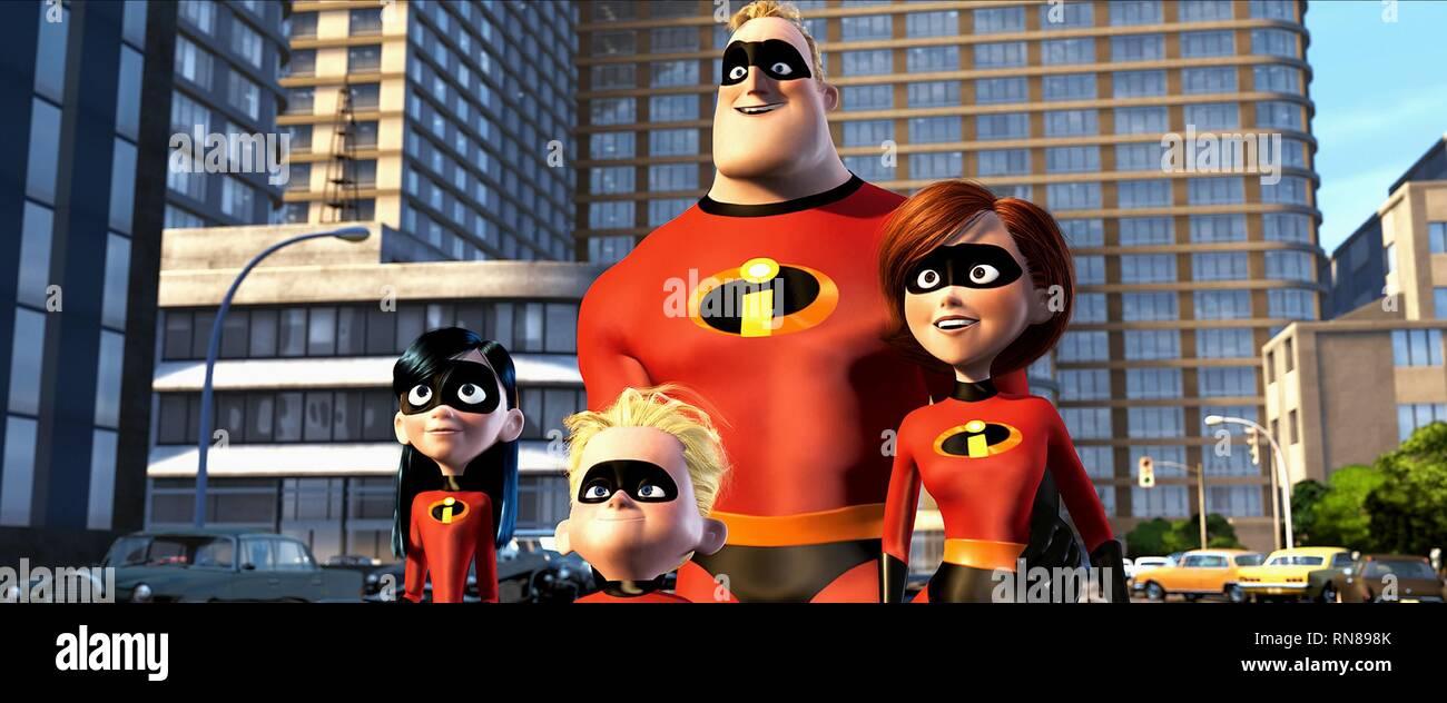 PARR,DASH,INCREDIBLE,ELASTIGIRL, THE INCREDIBLES, 2004 - Stock Image