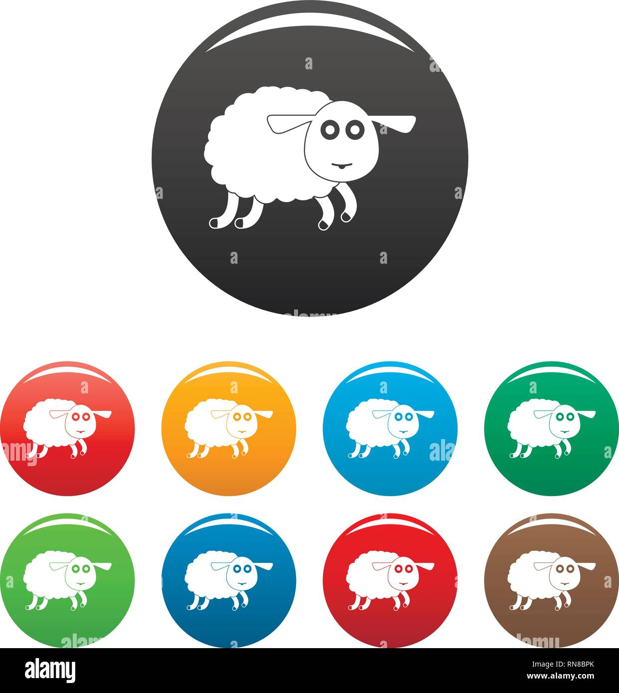 Sheep icons set 9 color vector isolated on white for any design - Stock Vector
