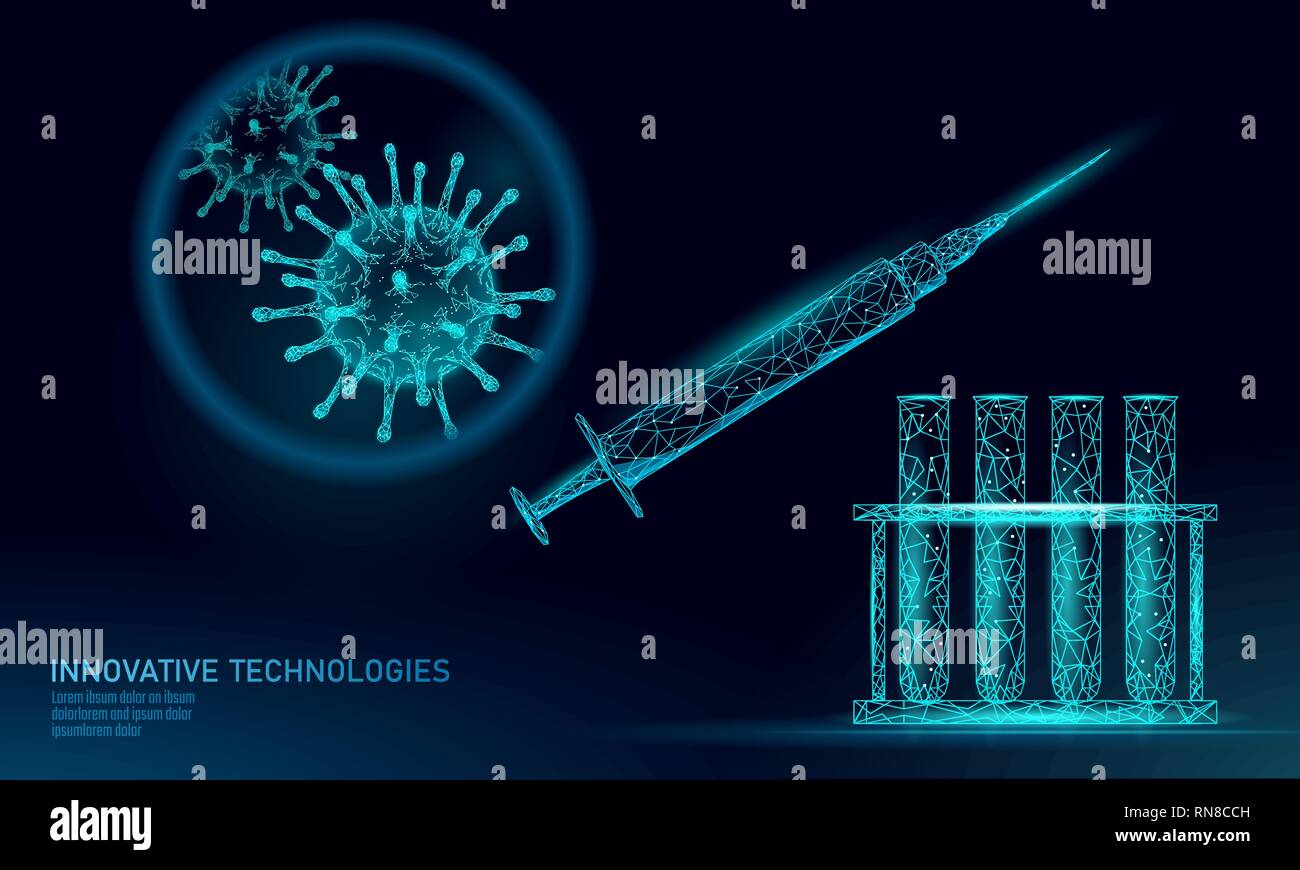 Low poly test tube virus syringe. Laboratory analysis medical disease infection treatment. Modern science technology medicine research banner template - Stock Image