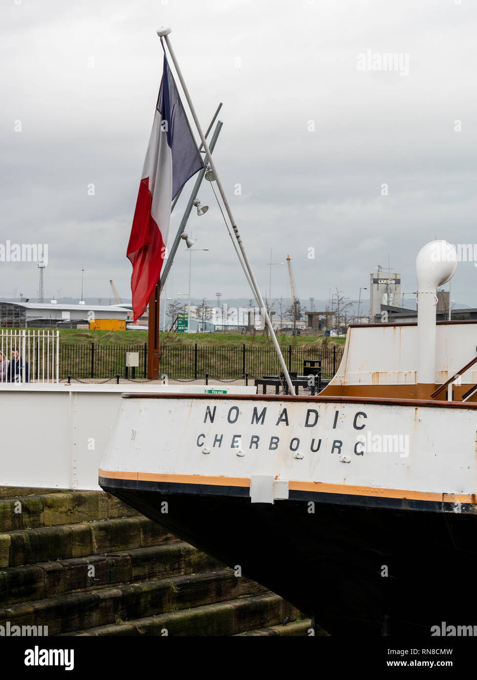 SS Nomadic is the last remaining White Star Line ship. She sits in Hamilton Dock, Belfast - Stock Image