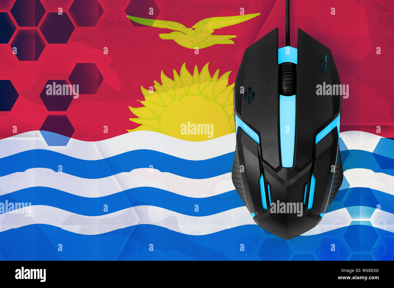 Kiribati flag  and modern backlit computer mouse. Concept of country representing e-sports team - Stock Image