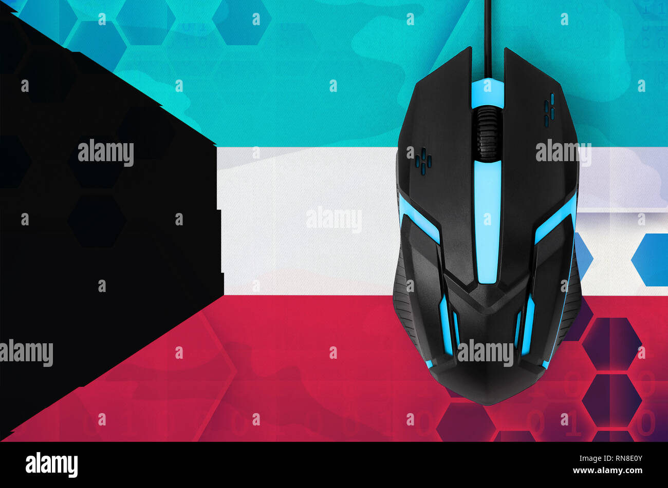 Kuwait flag  and modern backlit computer mouse. Concept of country representing e-sports team - Stock Image