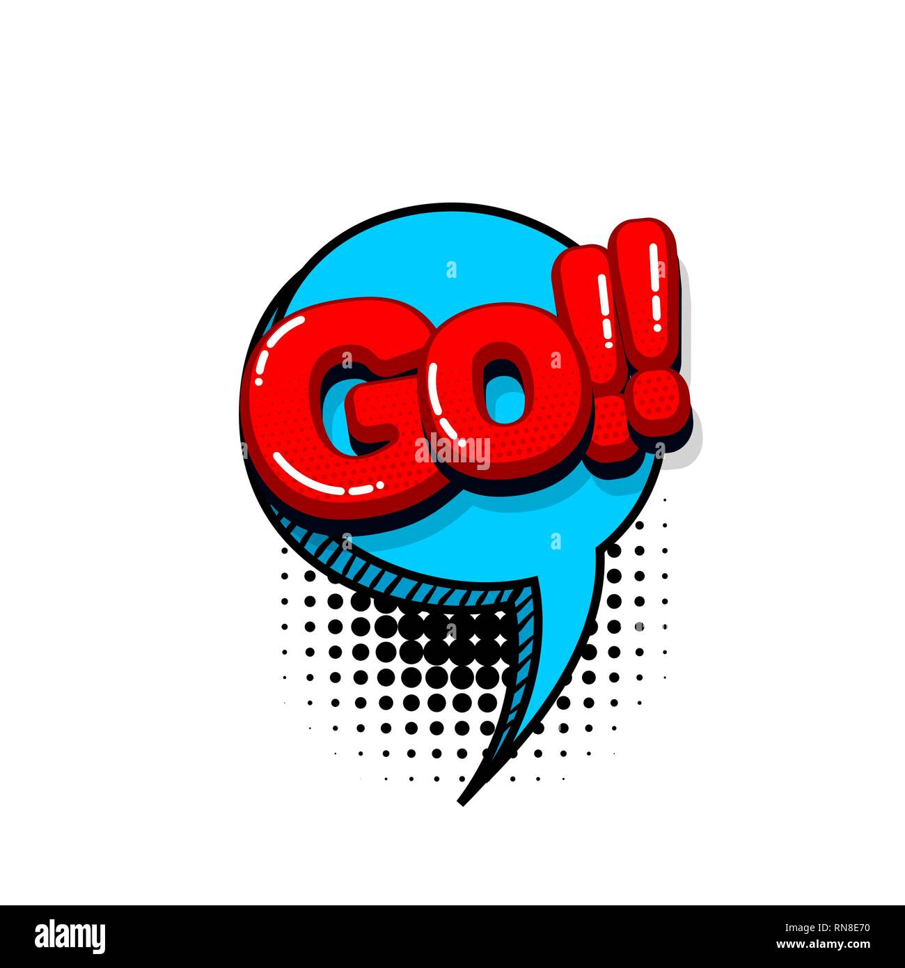 Go run start comic text sound effects pop art style  Vector speech