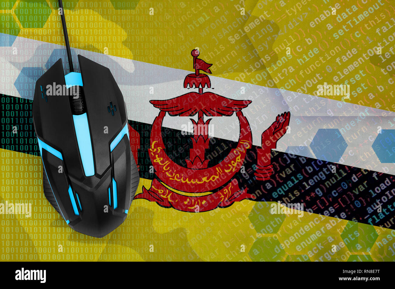 Brunei Darussalam flag  and modern backlit computer mouse. The concept of digital threat, illegal actions on the Internet - Stock Image