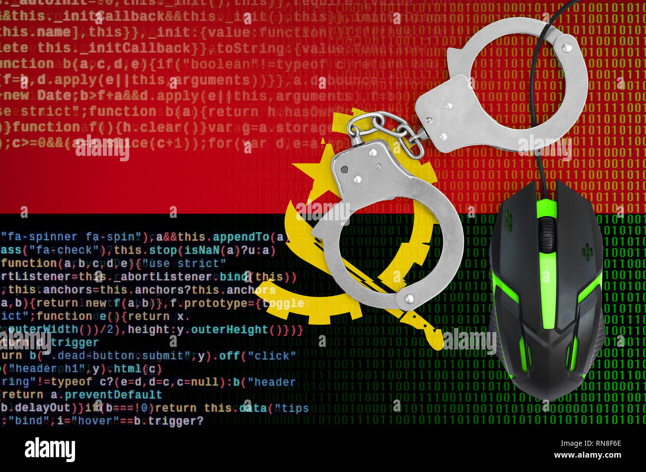 Angola flag  and handcuffed modern backlit computer mouse. Creative concept of combating computer crime, hackers and piracy - Stock Image