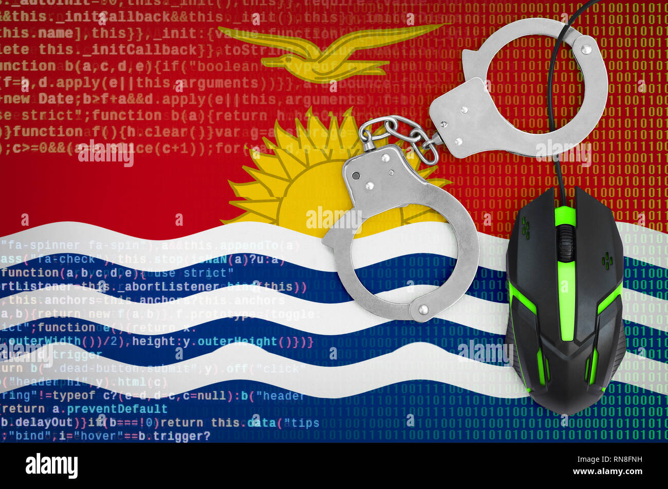 Kiribati flag  and handcuffed modern backlit computer mouse. Creative concept of combating computer crime, hackers and piracy - Stock Image