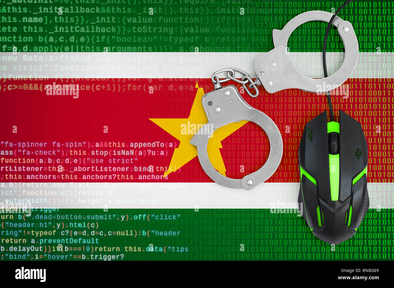 Suriname flag  and handcuffed modern backlit computer mouse. Creative concept of combating computer crime, hackers and piracy - Stock Image