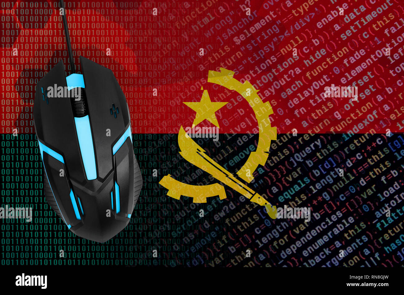 Angola flag  and modern backlit computer mouse. The concept of digital threat, illegal actions on the Internet - Stock Image