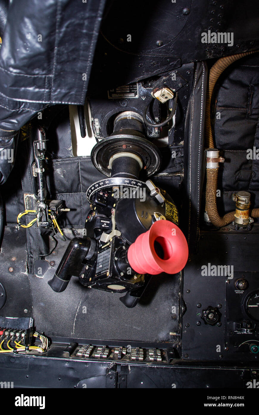 Sextant in an RAF Avro Vulcan B2 Cold War nuclear bomber. Standby backup in case of instrument failure. Used for astronavigation, celestial navigating - Stock Image