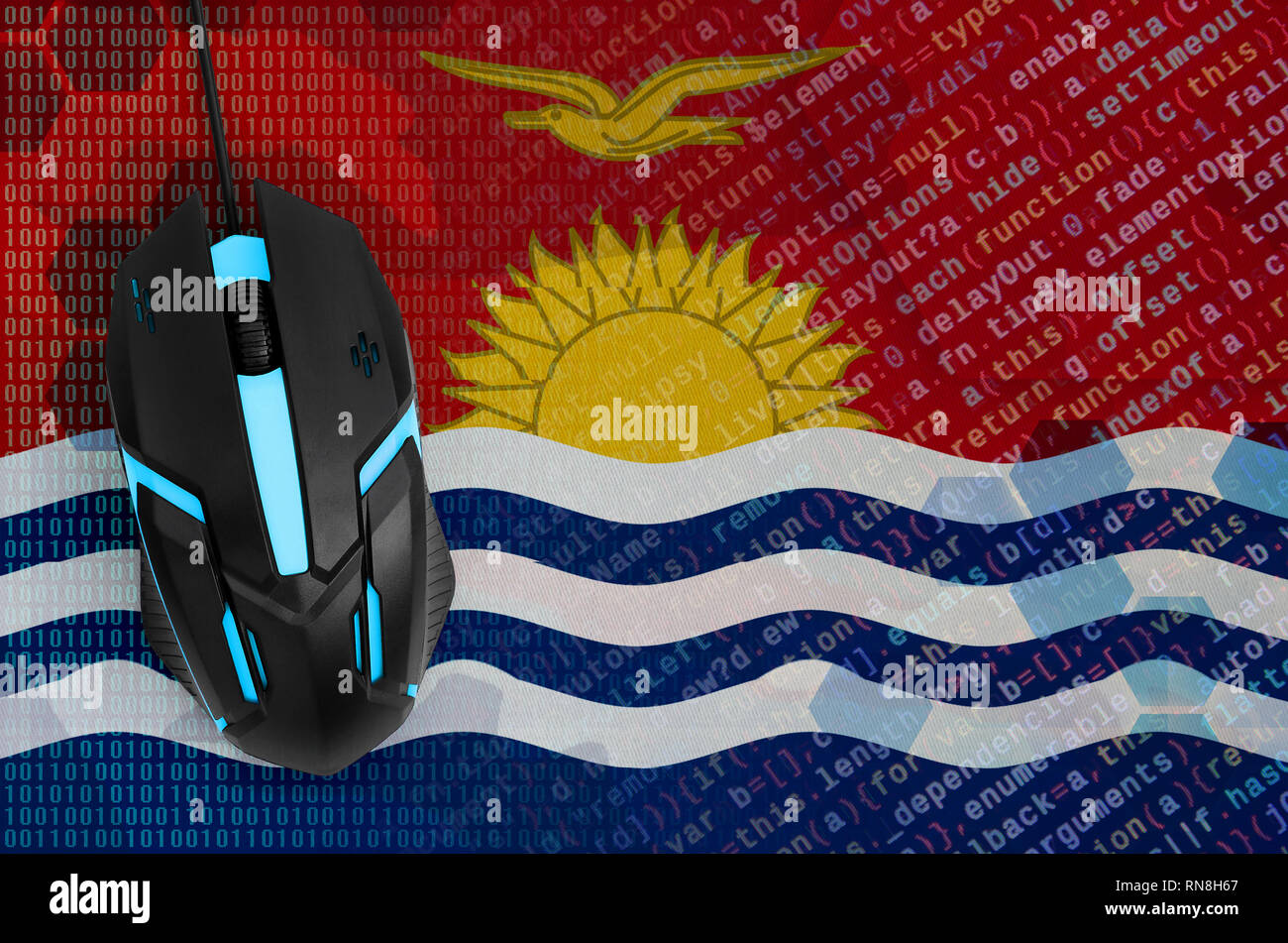 Kiribati flag  and modern backlit computer mouse. The concept of digital threat, illegal actions on the Internet - Stock Image