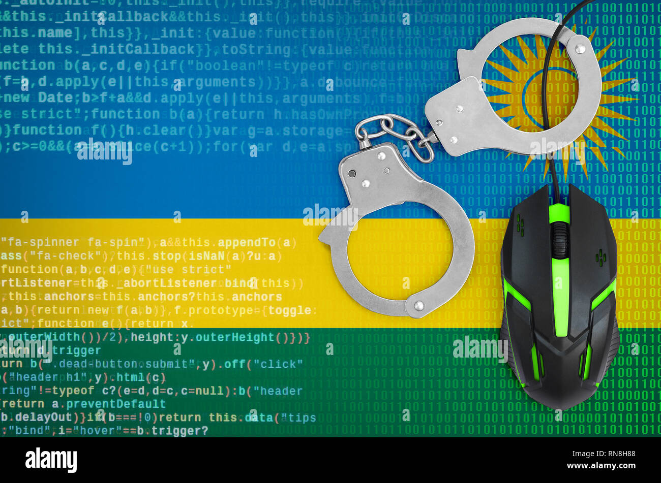 Rwanda flag  and handcuffed modern backlit computer mouse. Creative concept of combating computer crime, hackers and piracy - Stock Image
