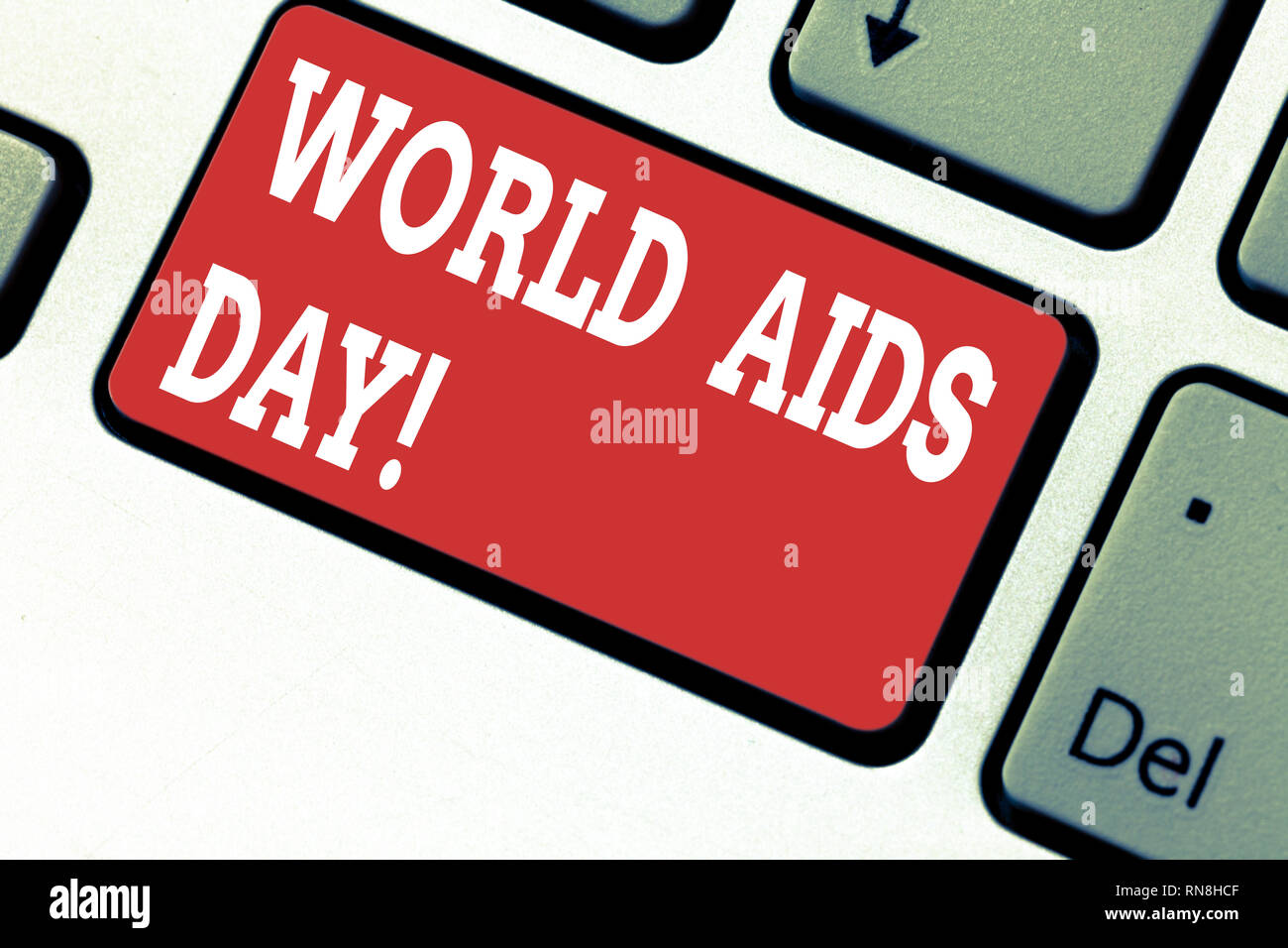 Handwriting text writing World Aids Day. Concept meaning 1st December dedicated to raising awareness of the AIDS Keyboard key Intention to create comp - Stock Image