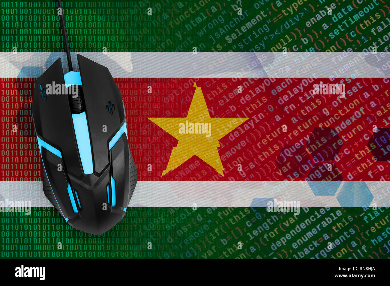 Suriname flag  and modern backlit computer mouse. The concept of digital threat, illegal actions on the Internet - Stock Image