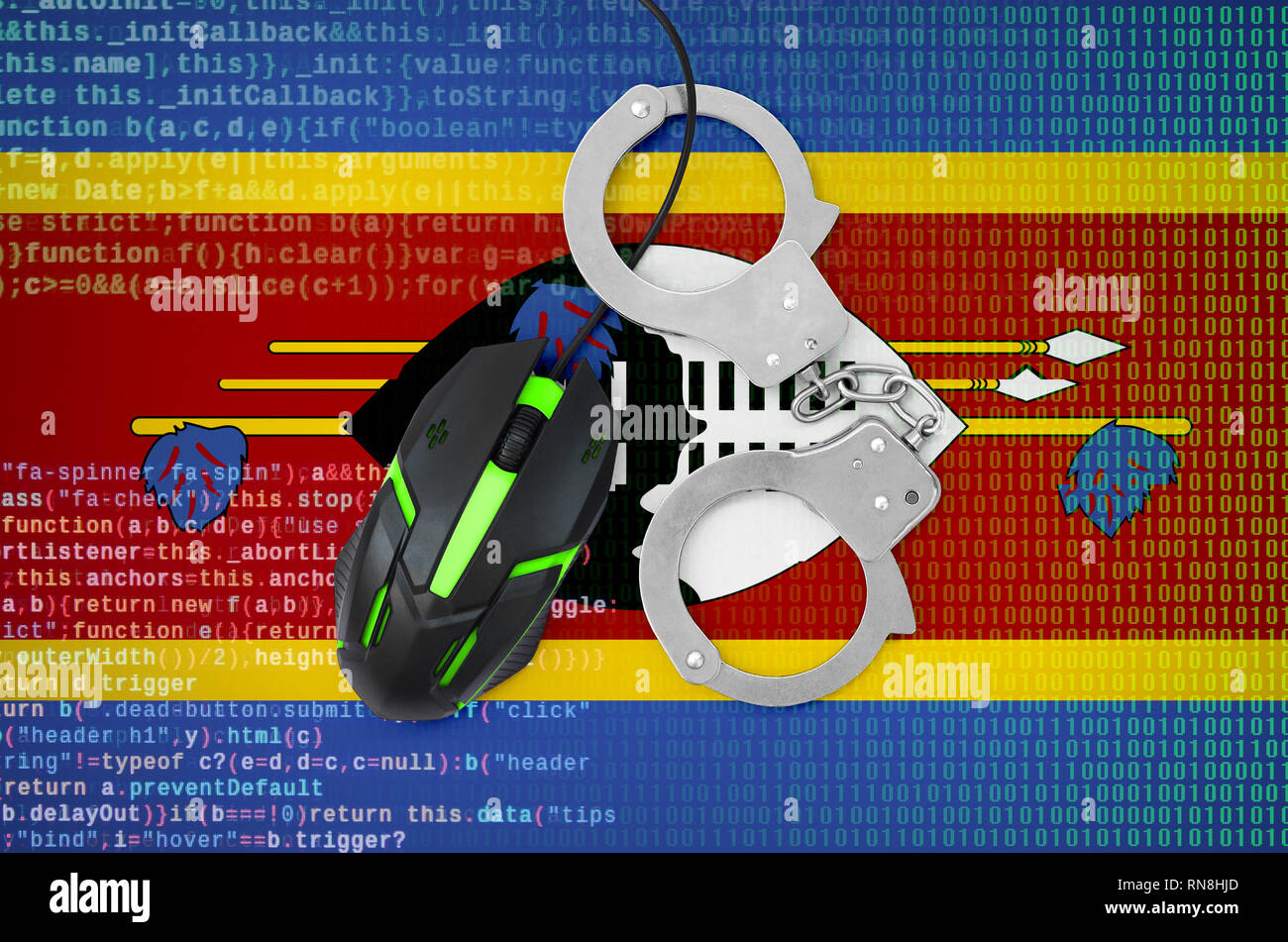 Swaziland flag  and handcuffed modern backlit computer mouse. Creative concept of combating computer crime, hackers and piracy Stock Photo