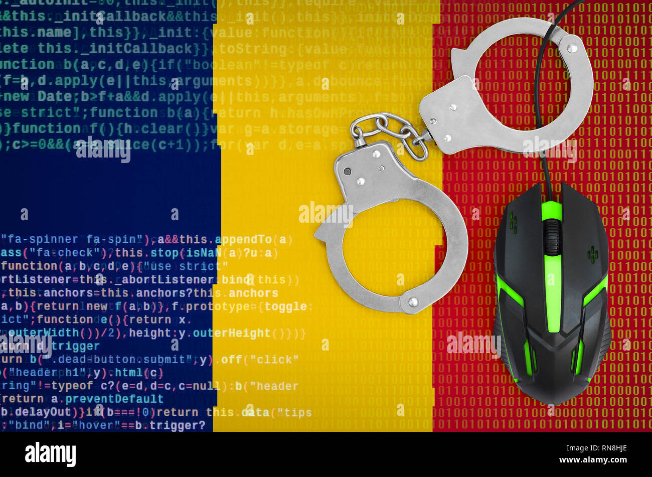 Chad flag  and handcuffed modern backlit computer mouse. Creative concept of combating computer crime, hackers and piracy - Stock Image