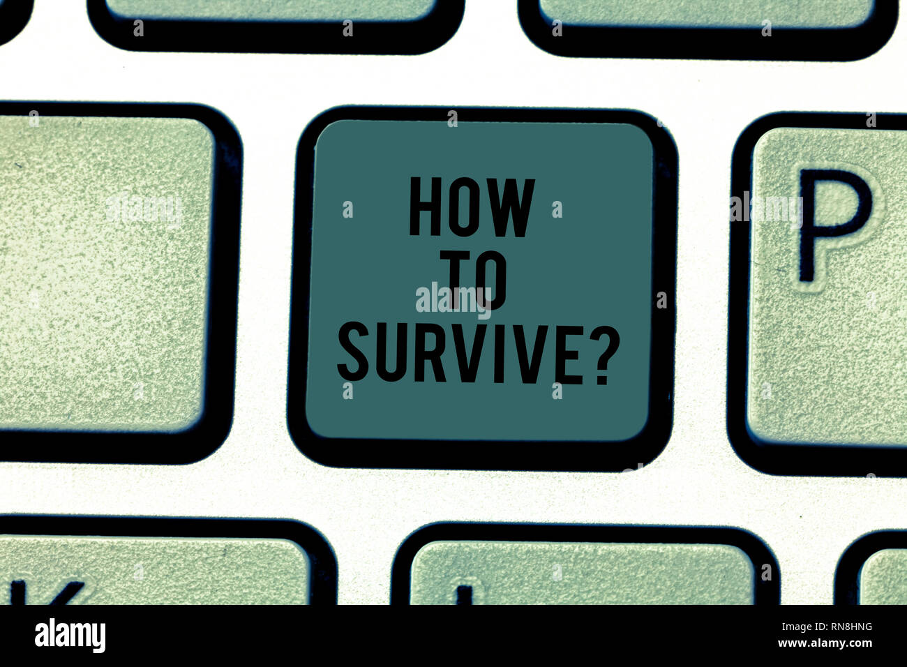 Text sign showing How To Survive. Conceptual photo Recommendations to have a safe adventure nature trip Keyboard key Intention to create computer mess - Stock Image
