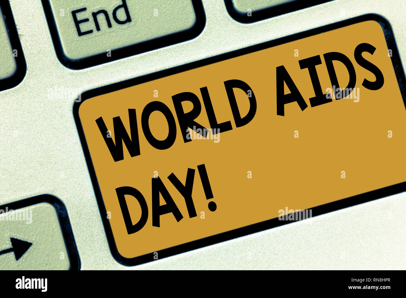 Text sign showing World Aids Day. Conceptual photo 1st December dedicated to raising awareness of the AIDS Keyboard key Intention to create computer m - Stock Image