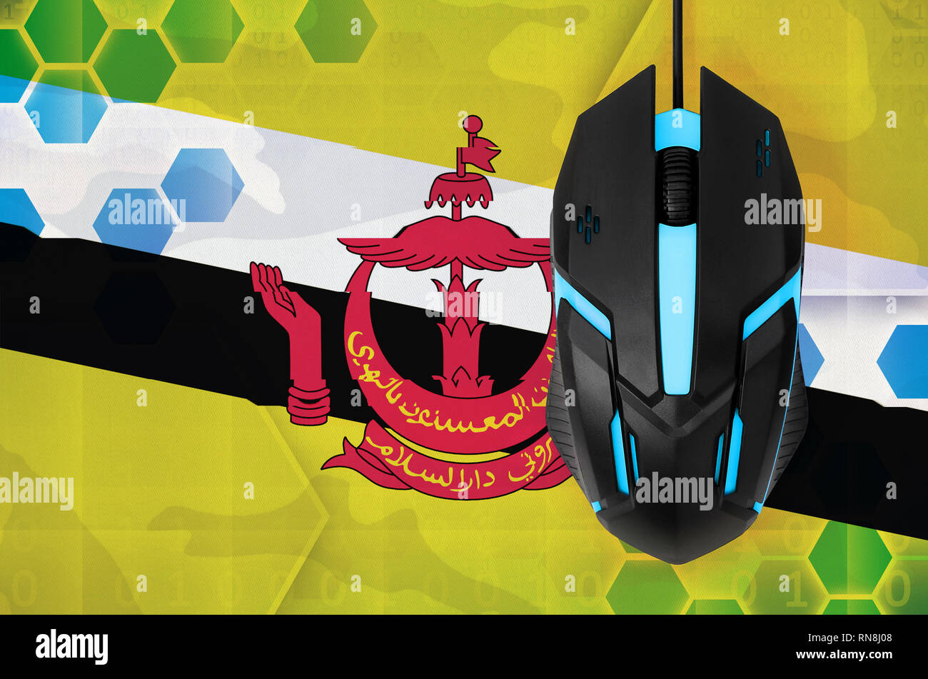 Brunei Darussalam flag  and modern backlit computer mouse. Concept of country representing e-sports team - Stock Image