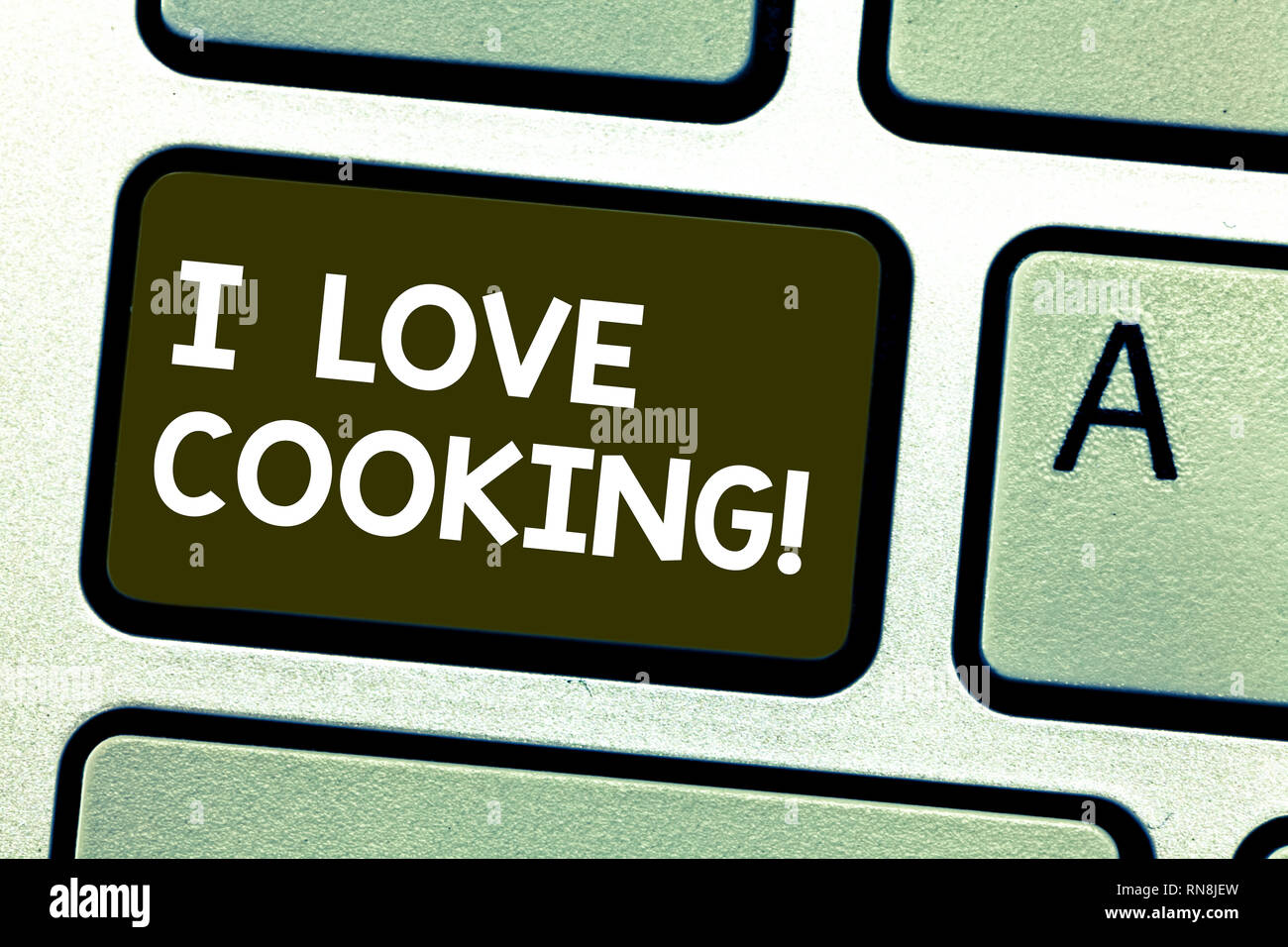 Handwriting Text Writing I Love Cooking Concept Meaning Having Affection For Culinary Arts Prepare Foods And Desserts Keyboard Key Intention To Creat Stock Photo Alamy