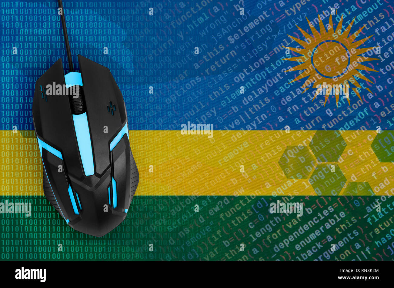 Rwanda flag  and modern backlit computer mouse. The concept of digital threat, illegal actions on the Internet - Stock Image