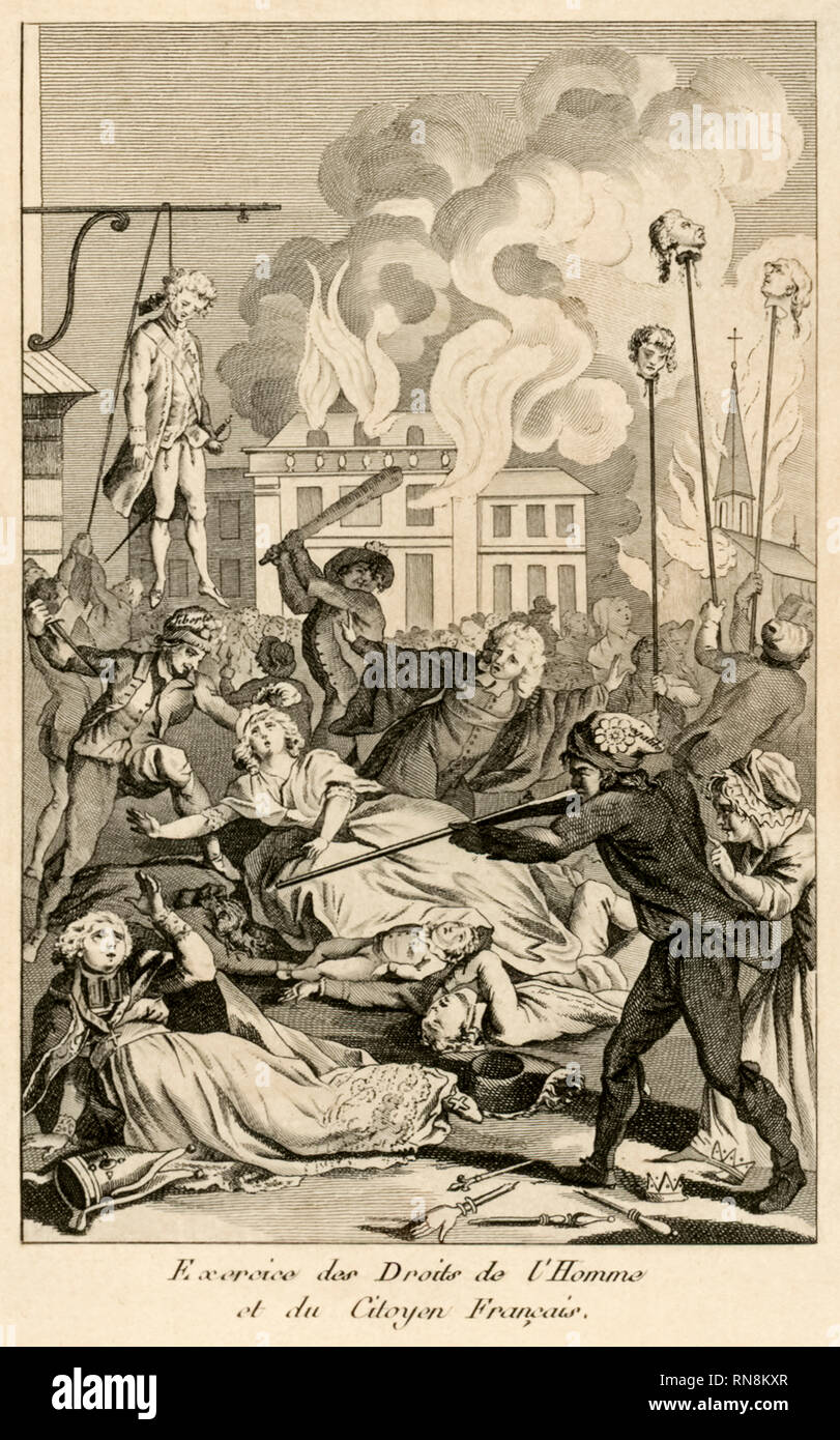 Frontispiece showing the Reign of terror from 'Les Crimes Constitutionnels De France, Ou La Desolation Francaise' (The Constitutional Crimes of France, or The French Desolation) by anonymous about the French Revolution published in 1792. - Stock Image