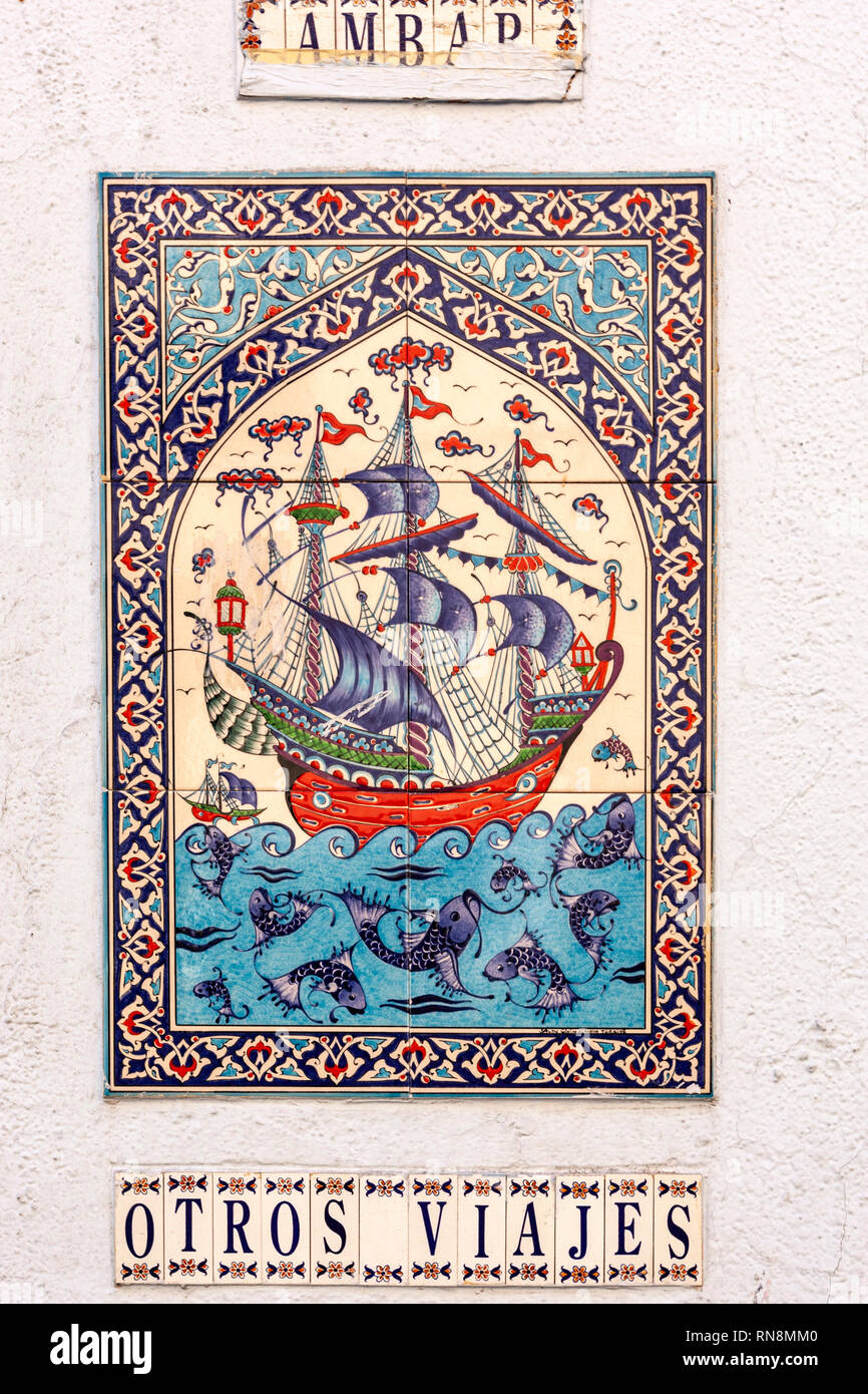 Tiled galleon  outside the Ambar Viajes, tiled galleon Madrid, Spain - Stock Image