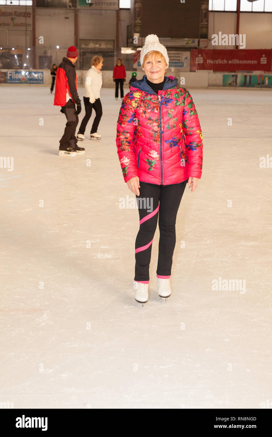 jonsdorf germany - january 31, 2019: Christine Stueber-Errath, the figure skating world champion from 1974 spends an afternoon on the rink in jonsdorf Stock Photo