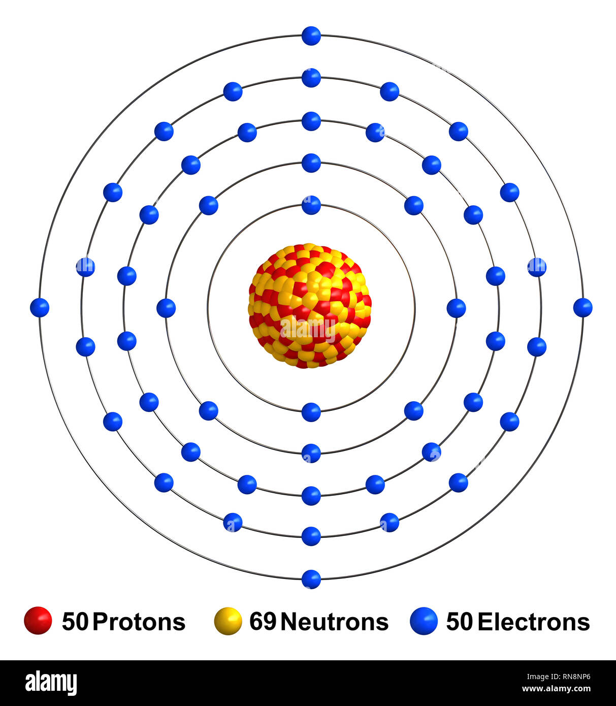 3d render of atom structure of tin isolated over white background protons  are represented as red