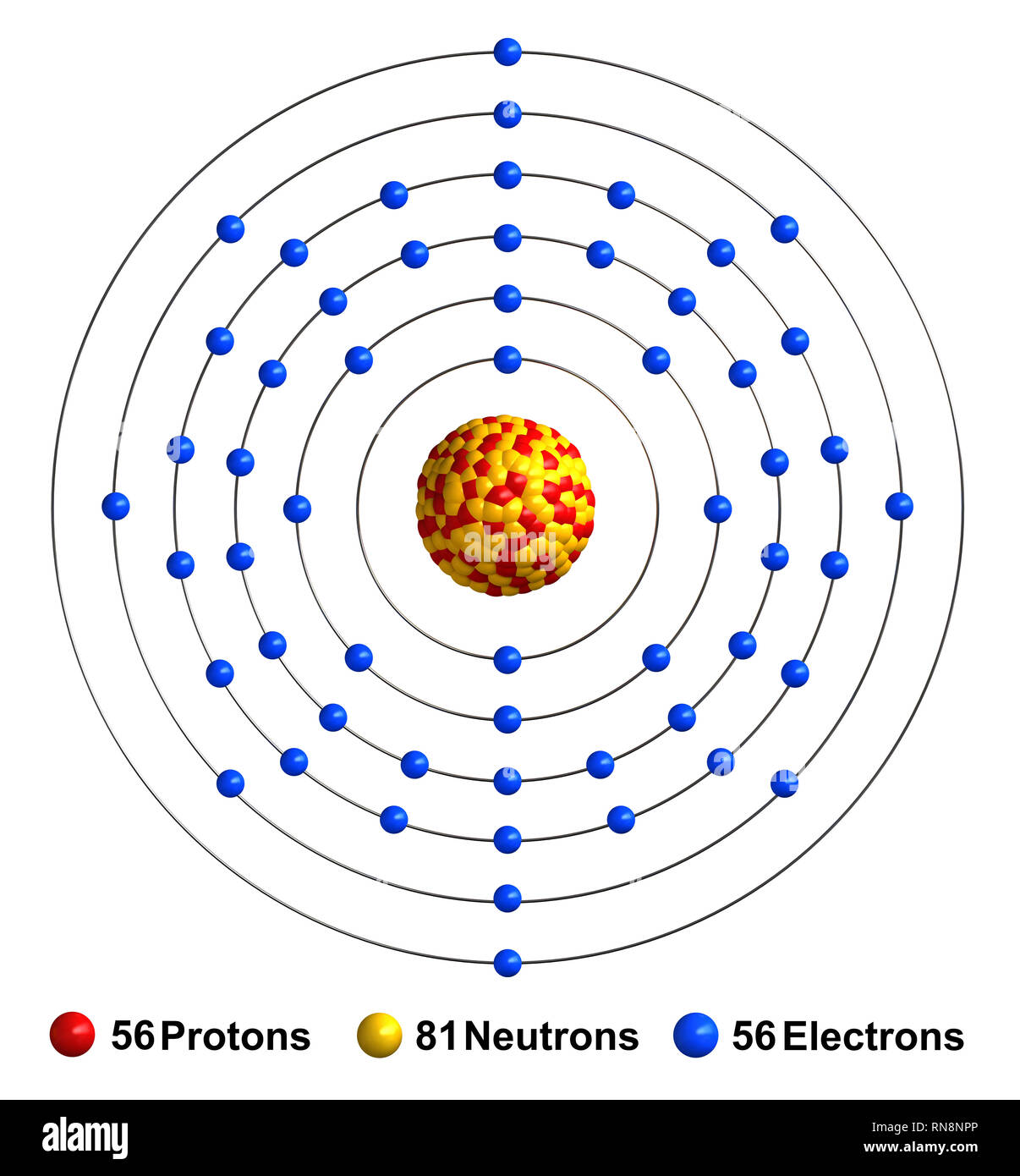3d render of atom structure of barium isolated over white background Protons are represented as red spheres, neutron as yellow spheres, electrons as b - Stock Image