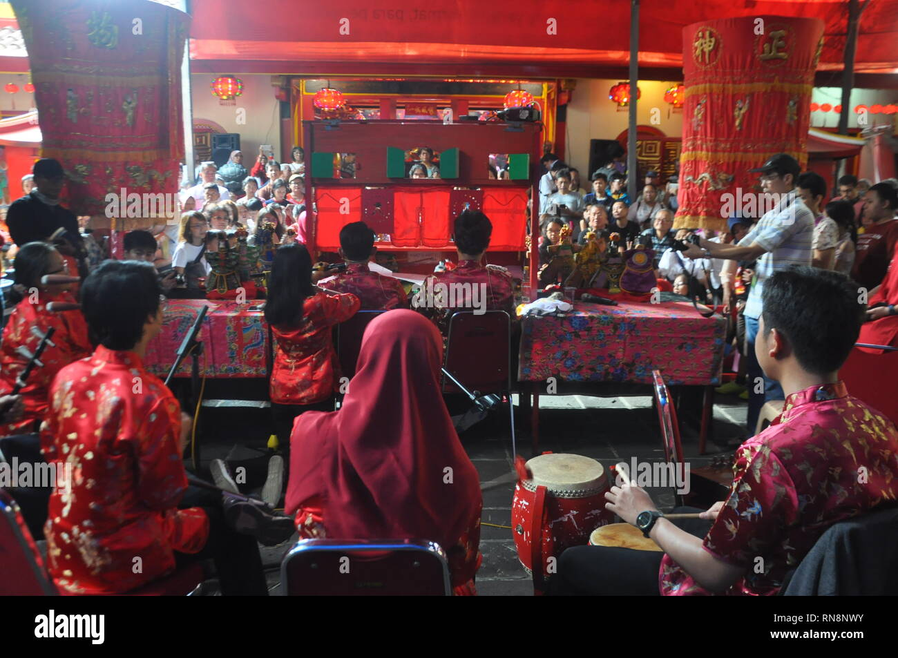 Musician are seen performing during the 'Potehi Puppet'show