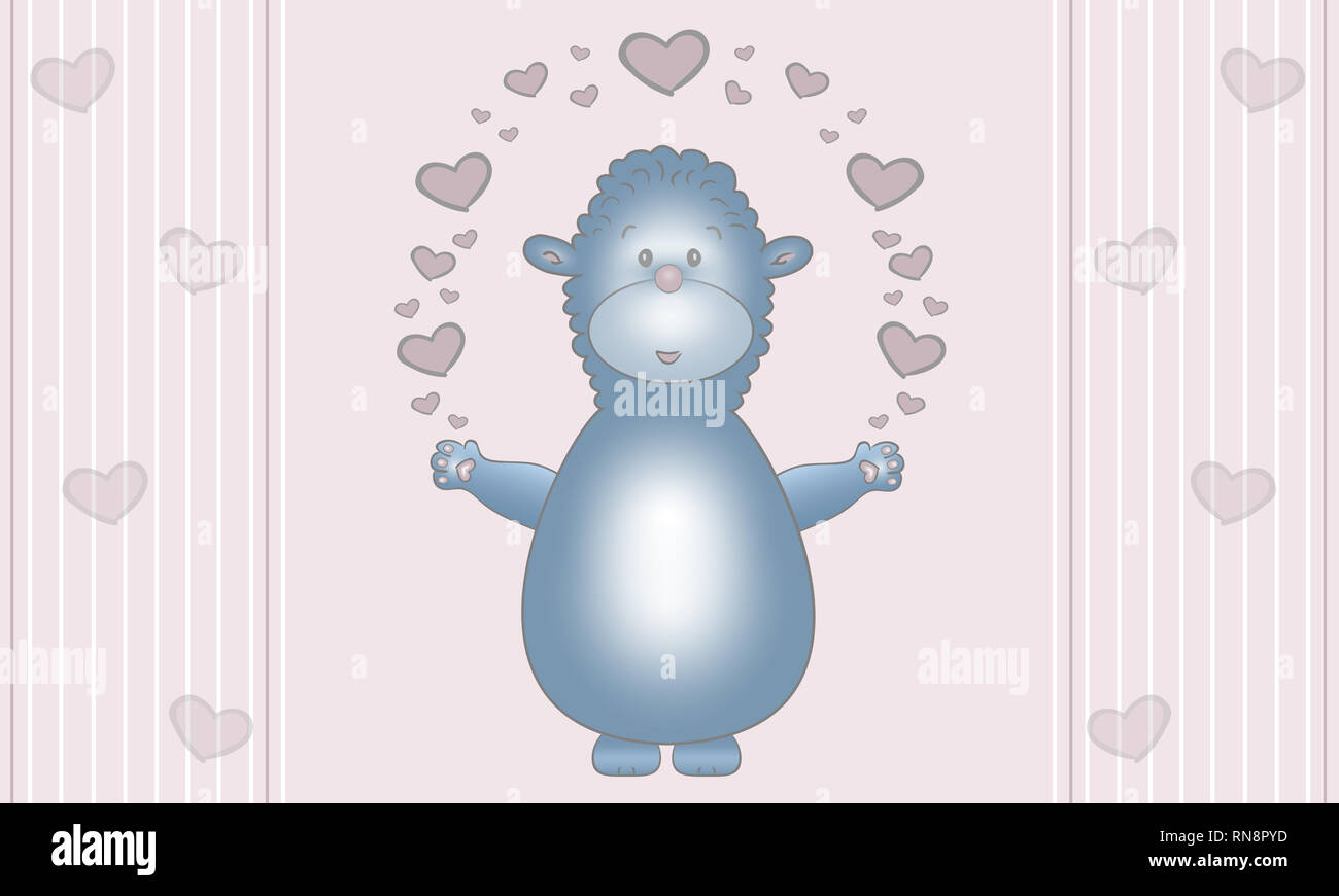 cute illustration design of blue fantasy animal creature, with earts, on pastel pink background Stock Photo