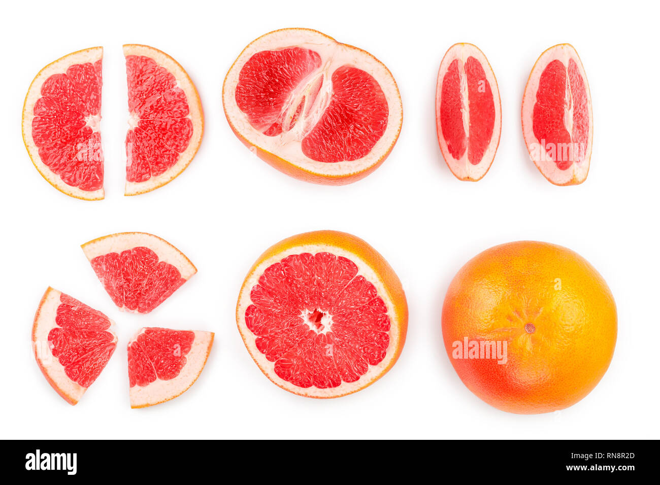 Grapefruit and slices isolated on white background. Top view. Flat lay pattern. Set or collection - Stock Image