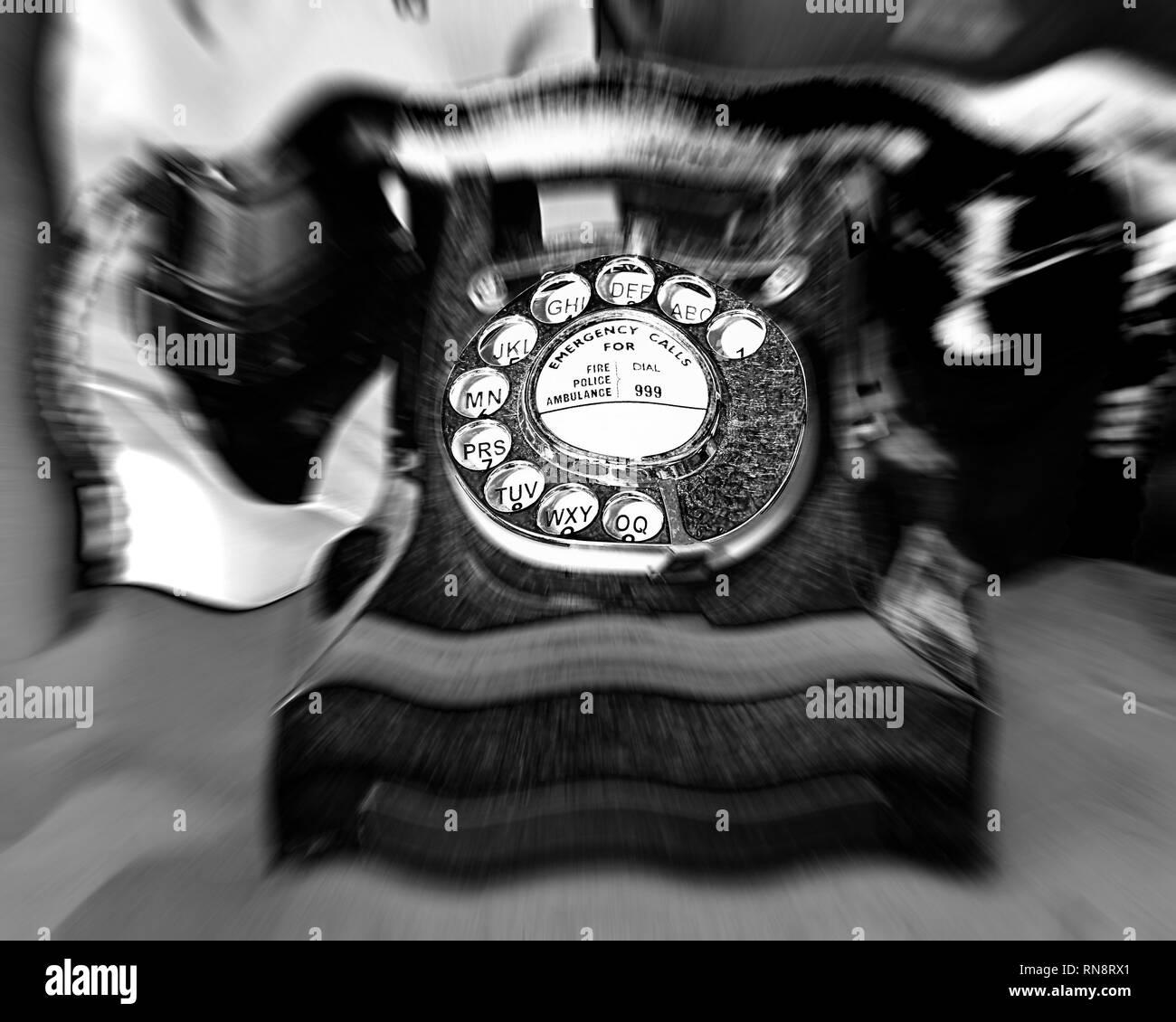 Old style 1940 bakelite telephone - Stock Image