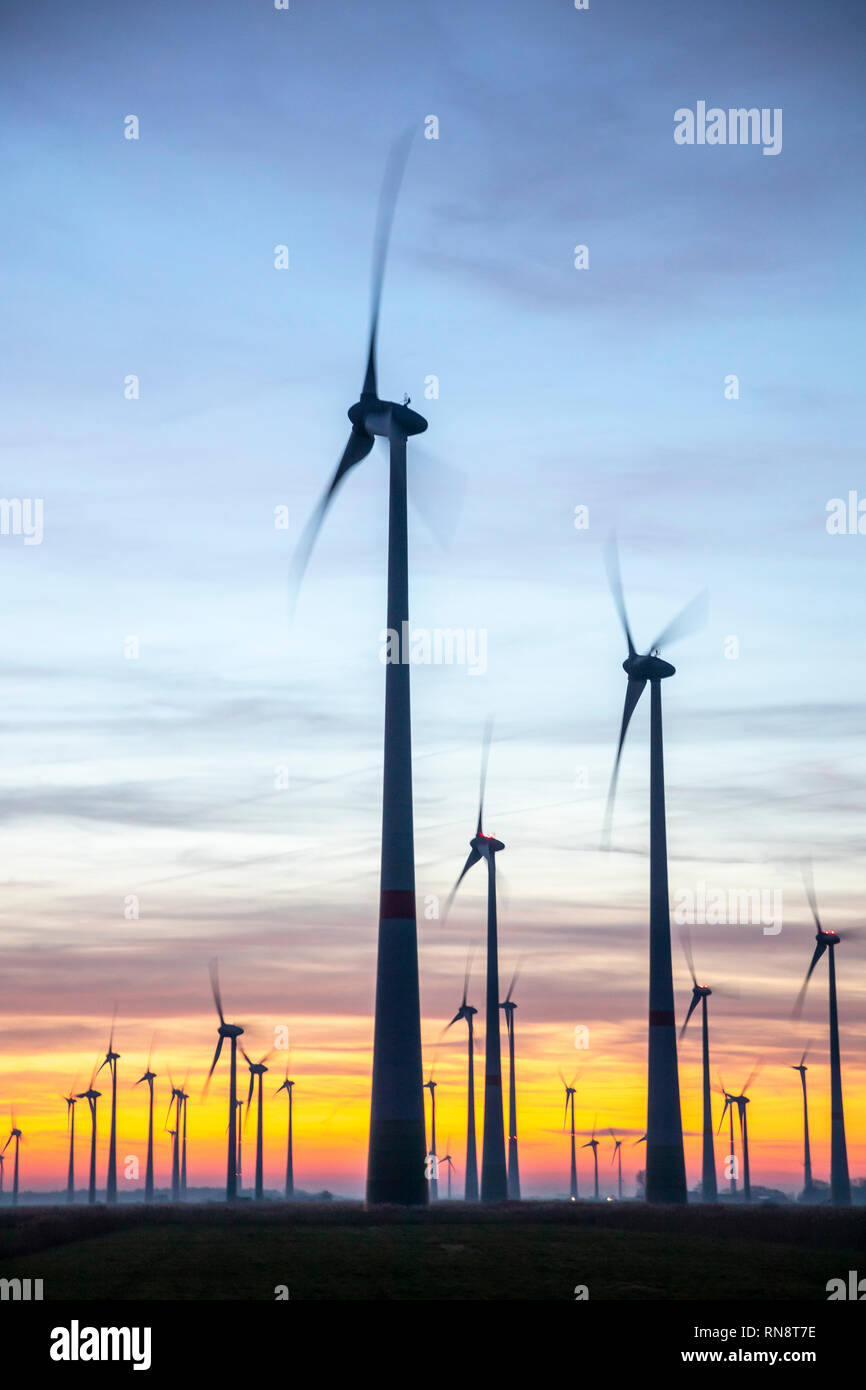 Utgast wind farm, wind park,  in the district of Wittmund, East Frida,  Lower Saxony, Germany, sunset, Stock Photo