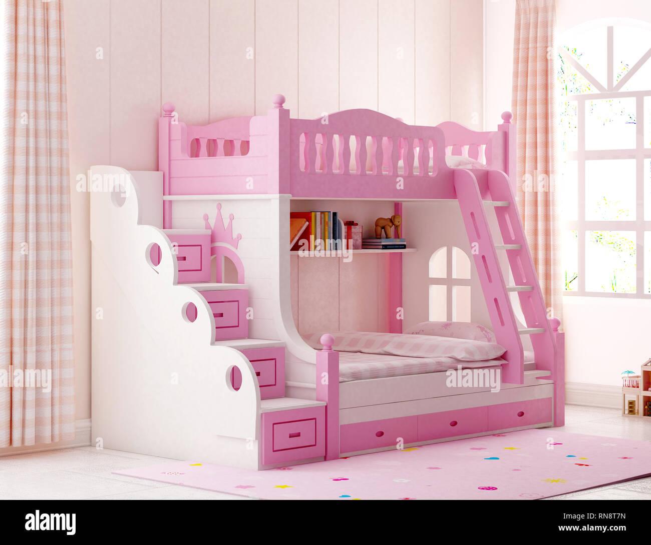 3d Render Pink Color Child Room Stock Photo - Alamy
