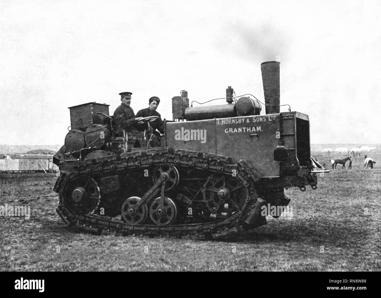 'The Caterpillar' or Walking Engine. Made by R.Hornsby & Sons Ltd. Grantham featuring the caterpillar track patented in 1904. - Stock Image