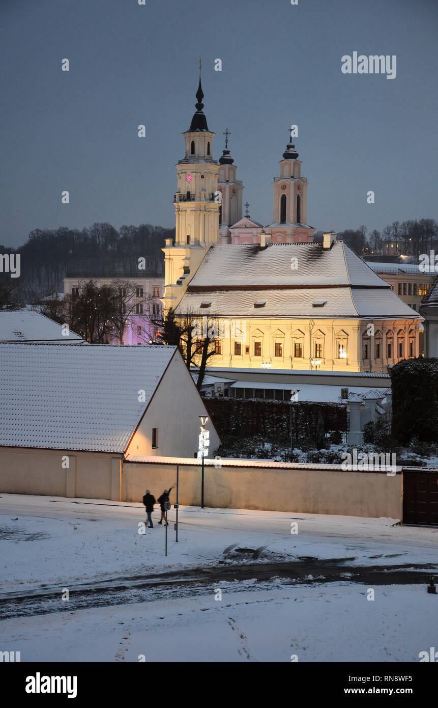 Kaunas Town Hall viewed from Kaunas Castle, Kaunas, Lithuania, December 2018 - Stock Image