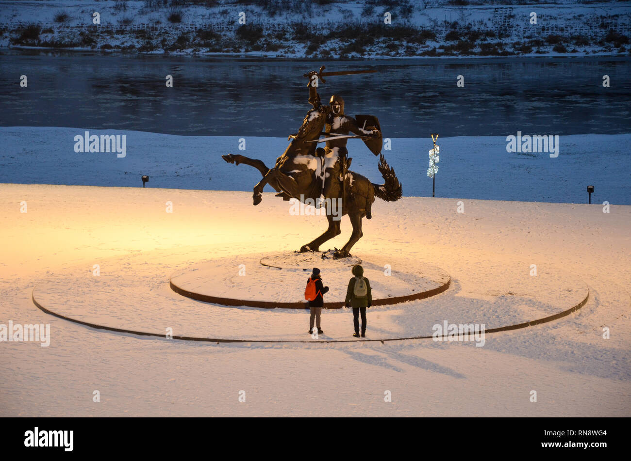 Freedom Warrior statue 'Vytis', near Kaunas Castle, Kaunas, Lithuania, December 2018 - Stock Image