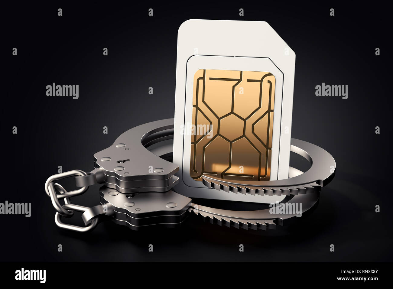 Sim card in handcuffs. Legal problems around careers, operators, bills, high speed networks concept. 3D rendering - Stock Image