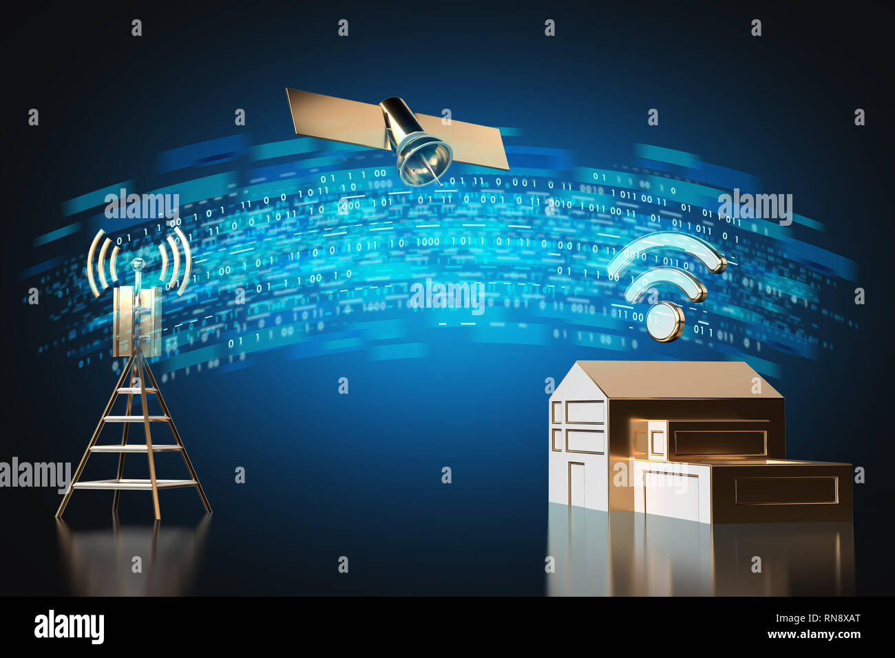 High speed data transfer from home  Fast internet connection concept