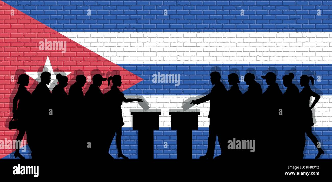 Cuban voters crowd silhouette in election with Cuba flag graffiti in front of brick wall. All the silhouette objects, icons and background are in diff - Stock Vector