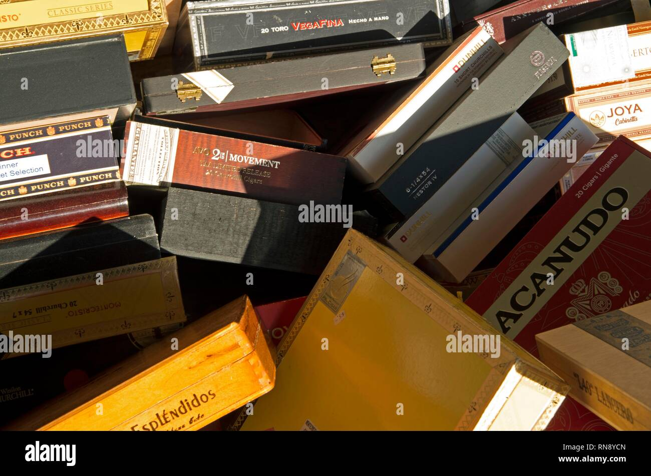 A stack of empty cigar boxes is up for sale at Telford's Cigar Lounge in Marin County. - Stock Image