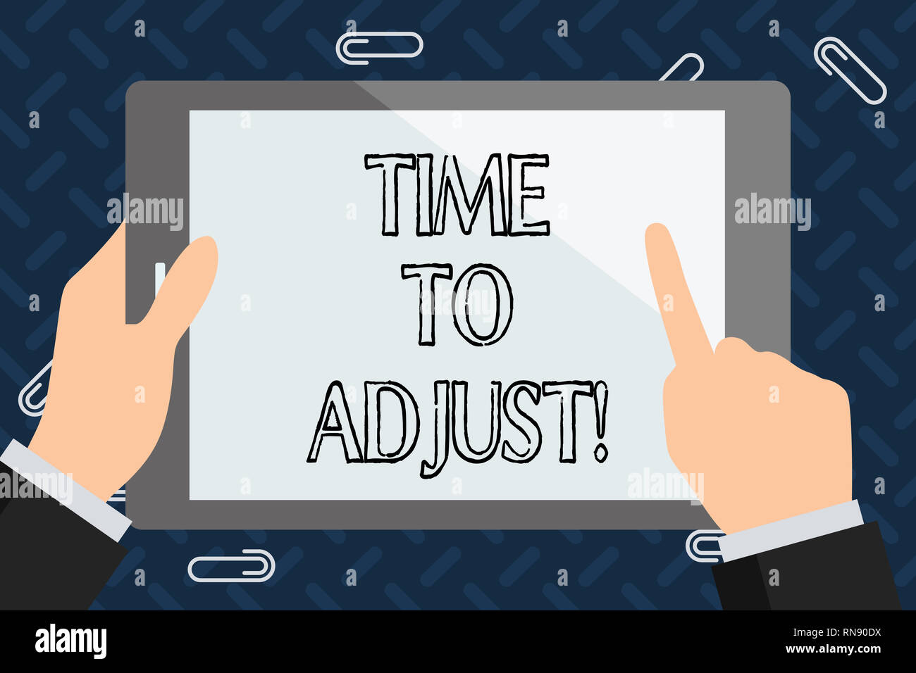 Text sign showing Time To Adjust. Conceptual photo Right moment for making adjustments to keep going forward - Stock Image
