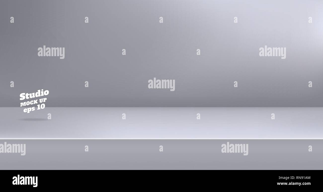 Vector,Empty modern grey color studio table room background ,product display with copy space for display of content design.Banner for advertise produc - Stock Vector