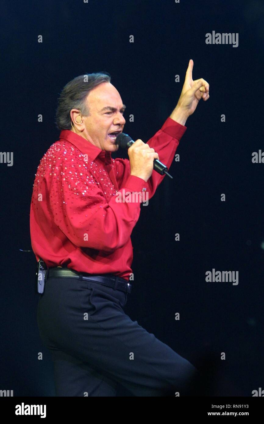 One of pop music's most enduring and successful singer-songwriters, Neil Diamond is shown on stage during a 'live' concert appearance. - Stock Image