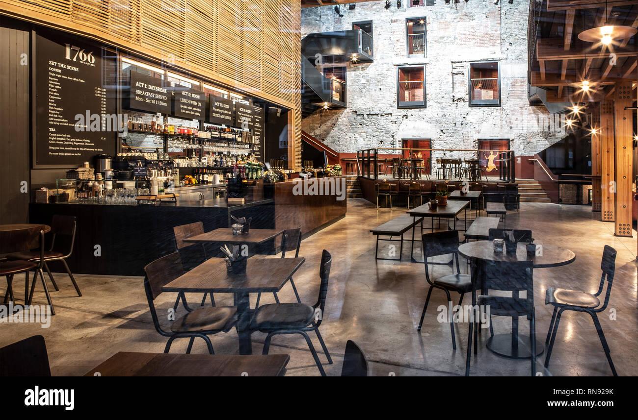 BRISTOL, UK - FEBRUARY 16, 2019: The Bristol Old Vic Theatre 1766 Bar & Kitchen, King Street Bristol - Stock Image